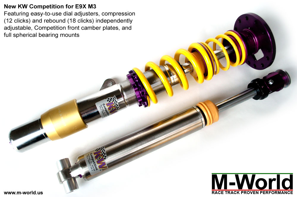 kw competition suspension for bmw e92 m3 front and rear